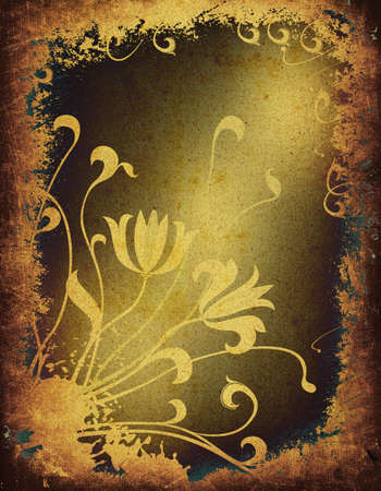 flower age: grunge floral frame design of an old paper Stock Photo