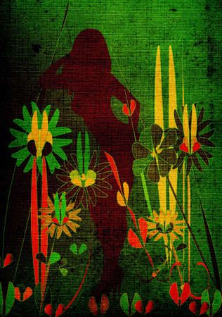 discolored: women silhouette and flowers on old textured paper