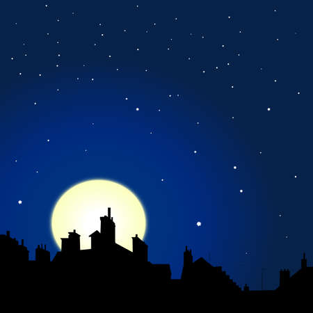 village rooftops silouettes on moon and stars sky background photo