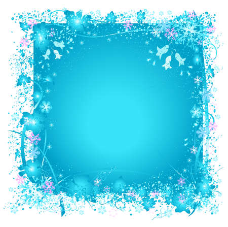 frozen nature, snowflakes and ice, decorative frame with snowflakes and frozen leafs, ideal for christmas cards photo