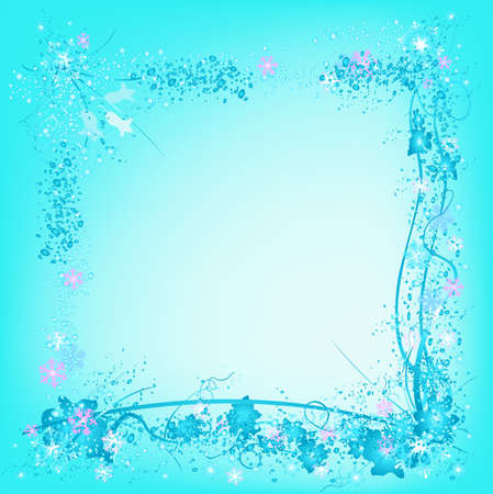 frozen nature, snowflakes and ice, decorative frame with snowflakes and frozen leafs, ideal for christmas cards Stock Photo - 730174