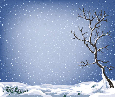winter landscape with tree and lot of snow falling Stock Photo - 730230