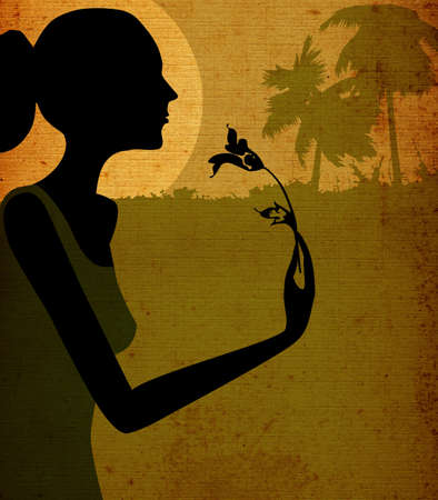 grunge design, woman smelling a flower in moonlight Stock Photo - 730228