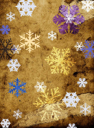 discolored: snowflackes on grungy texture