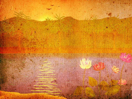 waterlilly: grunge landscape with waterlilly on lake at sunrise Stock Photo