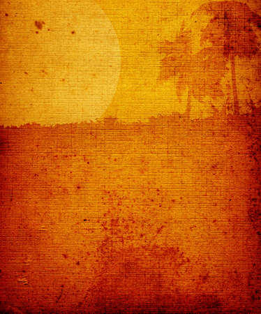 discolored: landscape with palm-trees and moon on brown old textured paper Stock Photo