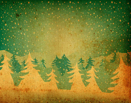 grunge fir forest falling snow Stock Photo - 732556