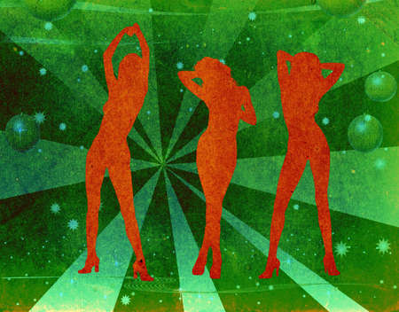 grunge design, girls dancing on a stage, party atmosphere, retro background Stock Photo - 734622