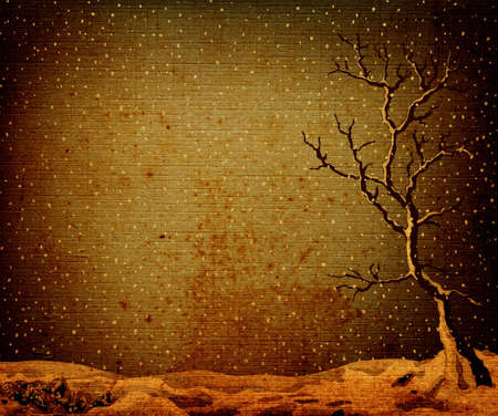 discolored: landscape with lonely tree on a plain, fantasy design on brown old textured paper Stock Photo
