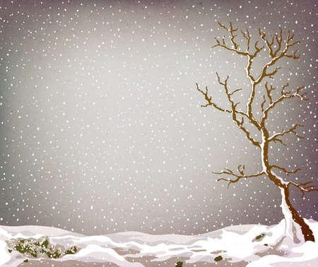 snow falling: Grunge paesaggio invernale con albero e lotto della neve caduta