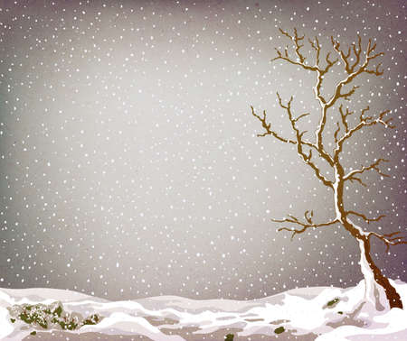 lot: grunge winter landscape with tree and lot of snow falling Stock Photo