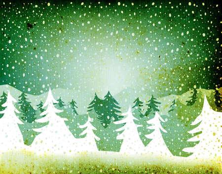 grunge fir forest falling snow Stock Photo - 738379