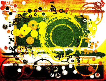 manic: abstract composition with circles, grunge style design