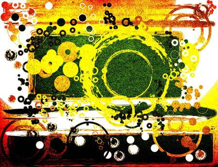 manic: composizione astratta con cerchi, stile grunge