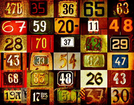 colorful background with different type house numbers Stock Photo - 738138