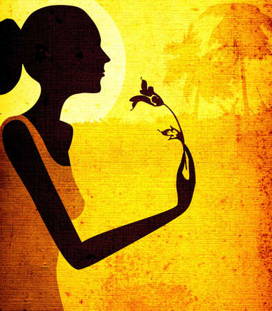 smelling: grunge design, woman smelling a flower in moonlight