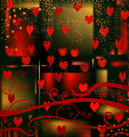 discolored: grunge design for valentine day, abstract composition with red hearts and foliage Stock Photo