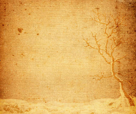 landscape with lonely tree on a plain, fantasy design on brown old textured paper Stock Photo