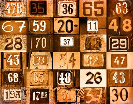 Ordinal: bunten Hintergrund mit unterschiedlichen Typs Hausnummern  Lizenzfreie Bilder