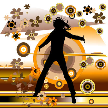 jumping woman on retro background with flowers Stock Photo - 939644