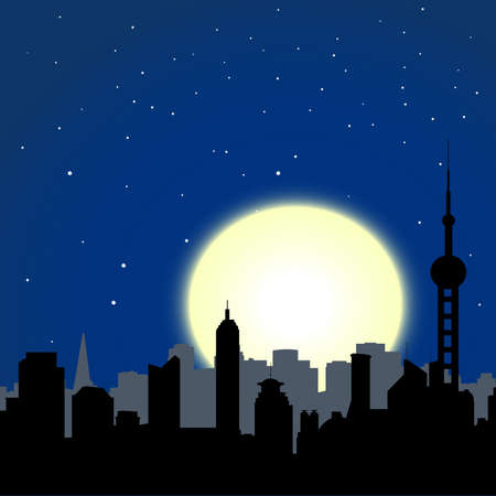 city buildings silhouettes on moon and stars sky background photo