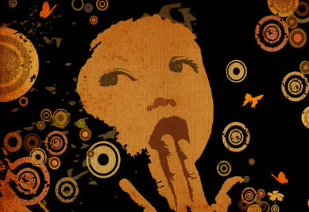 peper: composition with girl face on abstract grunge background