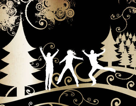 seasonable: grunge design, silhouettes in winter landscape, christmas trees, foliage and circles
