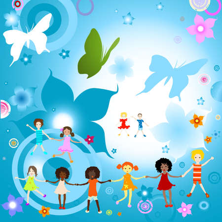 Group of kids on abstract background with flowers and butterflies photo