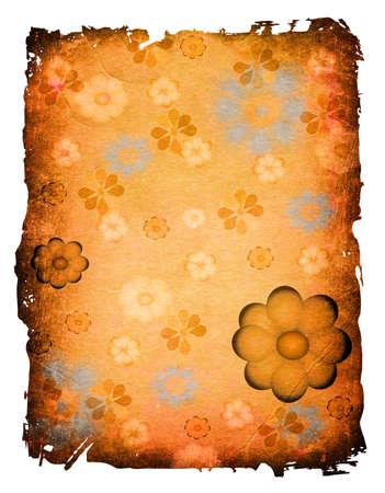scarp: flowers, floral design on a grunge old paper