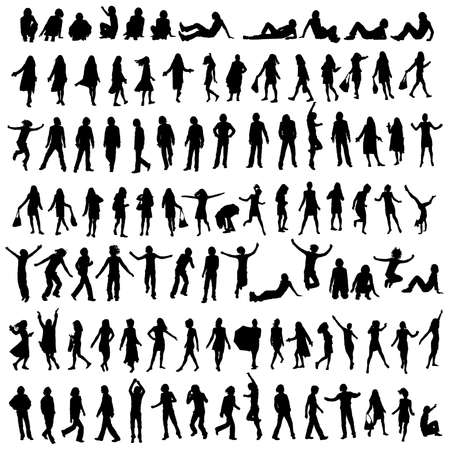 one hundred male and female silhouettes Stock Photo