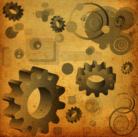 abstract design, illustration with circles, gears and rectangles  illustration