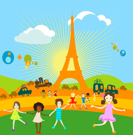 Grupo de niños jugando en un paisaje con torre  Foto de archivo - 1491294