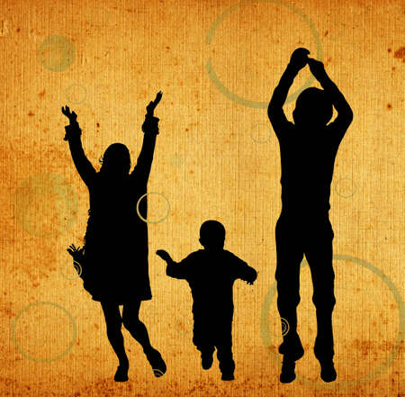 illustration of an urban scene with a familly silhouettes Stock Illustration - 1655888