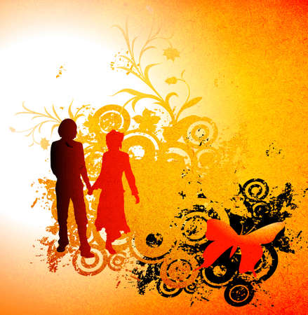 spring coat: illustration with couple silhouettes and flowers composition Stock Photo