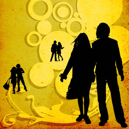illustration of an urban scene with couples silhouettes illustration