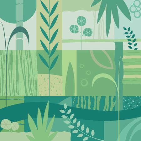 abstract decorative vegetal design; illustration background in pastel colors