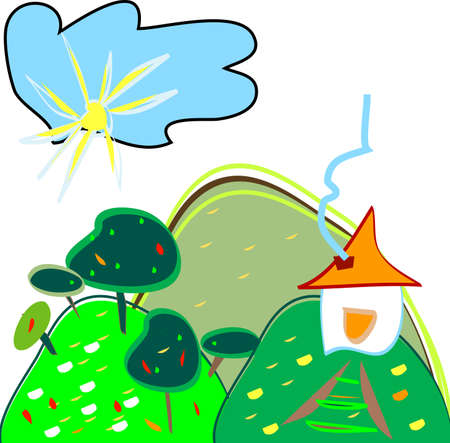 landscape - vector - child like drawing with house and sun Stock Photo - 1674617