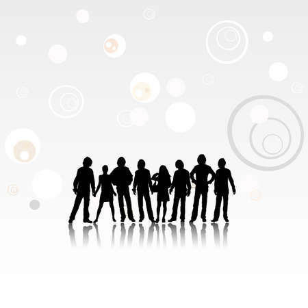 team, design of a group with silhouettes of people  Stock Photo