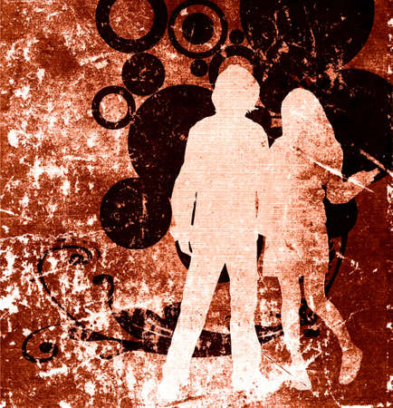 spring coat: illustration of an urban scene with couple silhouettes Stock Photo