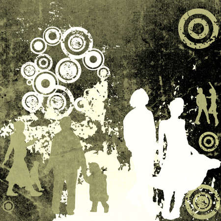 illustration of an urban scene with people silhouettes illustration