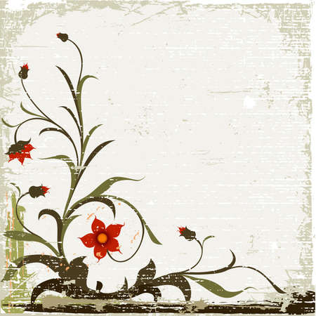 grunge floral design with decorative textured background Stock Photo - 1963371