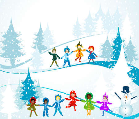 merrytime: children playing in a winter landscape; Christmas illustration