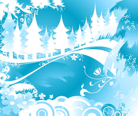 winter landscape with fir tree forest; Christmas illustration Stock Illustration - 1964223