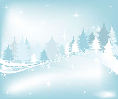 seasonable: winter landscape with fir tree forest; Christmas illustration