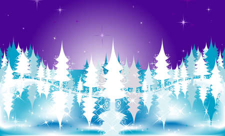 merrytime: the christmas night; winter illustration of a frozen fir tree forest on a stary night sky Stock Photo