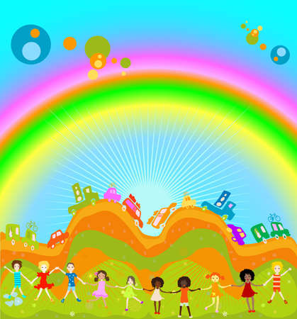 Group of kids playing, cars caravan cars and big rainbow in background Reklamní fotografie