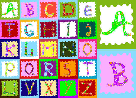 abstract design with alphabet; creative design for children  photo