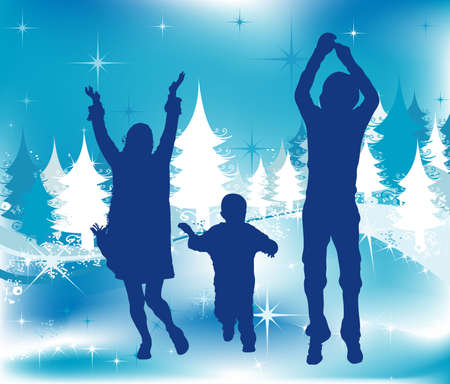 Christmas illustration, winter scene with  silhouettes having fun illustration
