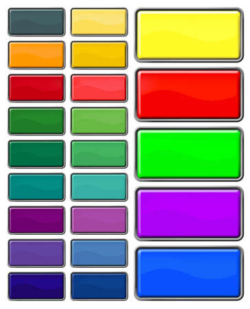 rectangular web buttons with different shiny colors photo