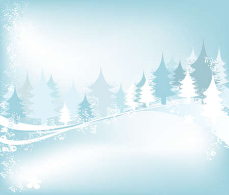 winter landscape with fir tree forest; Christmas illustration Stock Illustration - 2048339